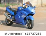 Small photo of Rustenburg, South Africa - March 3, 2017: Parked large blue Honda motorbike at Yearly Mass Ride of Tainted Souls Motorbike Club, Rustenburg, South Africa.