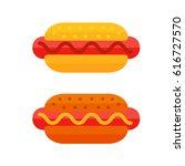 colorful meat sandwich cartoon... | Shutterstock .eps vector #616727570