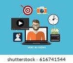 video blogging concept.idea of... | Shutterstock .eps vector #616741544