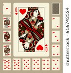 Playing Cards Of Hearts Suit I...