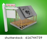 3d illustration of house frame... | Shutterstock . vector #616744739