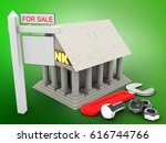3d illustration of bank over... | Shutterstock . vector #616744766