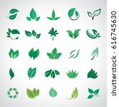leaf icons set  vector... | Shutterstock .eps vector #616745630
