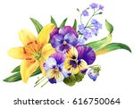 yellow lily and pansy flower... | Shutterstock . vector #616750064