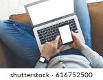 responsive design. man sitting... | Shutterstock . vector #616752500