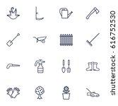 set of 16 farm outline icons... | Shutterstock .eps vector #616752530