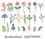 hand drawn colorful vintage... | Shutterstock . vector #616759004