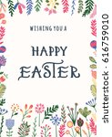 happy easter greeting card with ... | Shutterstock . vector #616759010
