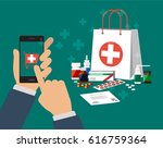 hand of a person buying the... | Shutterstock .eps vector #616759364