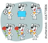 set character dog holding ball... | Shutterstock .eps vector #616773806