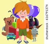 happy boy against pile of... | Shutterstock .eps vector #616791374