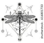 dragonfly vector magic tattoo... | Shutterstock .eps vector #616801733