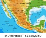 mexico relief map | Shutterstock .eps vector #616802360