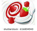 fresh strawberry milk cream... | Shutterstock .eps vector #616804043