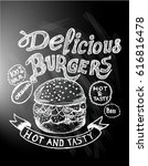 delicious food  burgers  menu | Shutterstock .eps vector #616816478