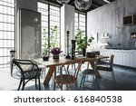 dining room with tables  chairs ...   Shutterstock . vector #616840538