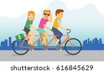 a group of teenager riding a... | Shutterstock .eps vector #616845629