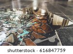 close up shards of broken... | Shutterstock . vector #616847759