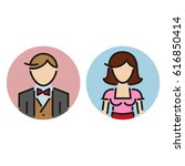 family icon woman and man colour | Shutterstock .eps vector #616850414
