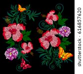 embroidery of beautiful red... | Shutterstock .eps vector #616857620