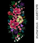 embroidery bouquet of different ... | Shutterstock .eps vector #616857698