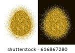 gold tinsel easter egg shape on ... | Shutterstock .eps vector #616867280