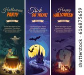 halloween banners with the... | Shutterstock .eps vector #616875659