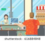 a little girl is buying milk at ... | Shutterstock .eps vector #616884848