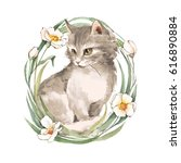 Stock photo cat cute kitten and flowers watercolor painting 616890884