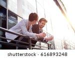 businessman explains something... | Shutterstock . vector #616893248