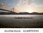 silhouette of people on rowing... | Shutterstock . vector #616894544