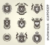 knight coat of arms and... | Shutterstock .eps vector #616904309