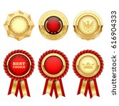 red award rosettes and gold... | Shutterstock .eps vector #616904333