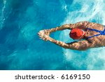 athletic swimmer is diving in a ... | Shutterstock . vector #6169150