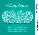 easter eggs set collection on... | Shutterstock .eps vector #616921760