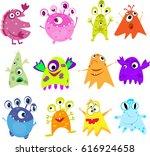 set cute monsters raster... | Shutterstock . vector #616924658