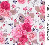 seamless floral pattern with... | Shutterstock .eps vector #616927859