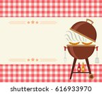 barbecue party blank invitation.... | Shutterstock .eps vector #616933970