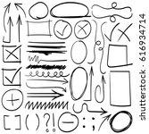 set of hand drawn arrows ... | Shutterstock .eps vector #616934714