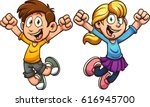 cartoon kids jumping. vector... | Shutterstock .eps vector #616945700