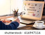 online education concept with... | Shutterstock . vector #616947116