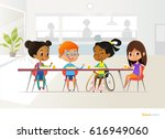 smiling disabled girl sitting... | Shutterstock . vector #616949060