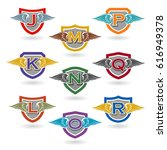 set of letter badges with wings ... | Shutterstock .eps vector #616949378