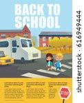 pair of cheerful school kids...   Shutterstock . vector #616949444