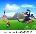 cartoon knight with fierce... | Shutterstock .eps vector #616952210
