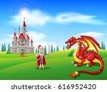 cartoon knight with fierce... | Shutterstock .eps vector #616952420