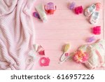 a newborn baby girl background. ... | Shutterstock . vector #616957226