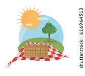 picnic basket tablecloth... | Shutterstock .eps vector #616964513
