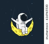 spaceman sway on the moon like... | Shutterstock .eps vector #616965530
