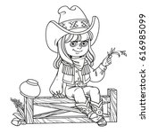 cute girl in a cowboy costume... | Shutterstock .eps vector #616985099